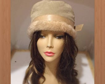 """H-124 Vintage Leather and Mink woman Fur hat 22.5-23"""""""