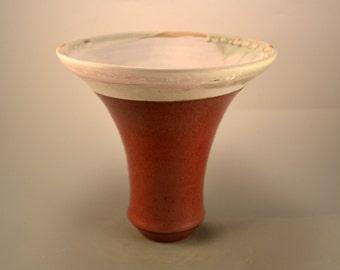 Trumpet  vase - red vase - stoneware vase- flower vase
