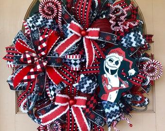 Jack Skellington wreath, Jack Skellington Christmas wreath, Jack Skellington door hanger, Jack Skellington Christmas door hanger