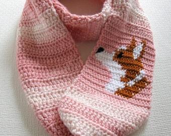 Welsh Corgi Scarf. Pink, infinity crochet scarf with a Pembroke Welsh corgi dog. Long cowl scarf. Corgi gift