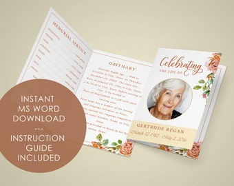 Funeral Template Etsy - Celebration of life template