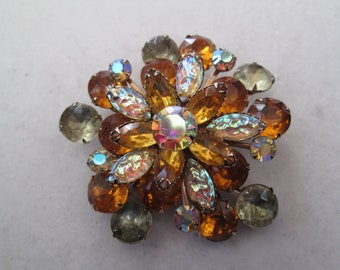 "Stunning 2 3/4"" Art Nouveau vintage amber and crystal glass rhinestone brooch pin"