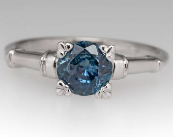 Sapphire Engagement Ring - .91 Carat Icy Blue Montana Sapphire Solitaire - Vintage 1960's 14K White Gold Engagement Ring - WM12786