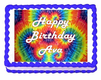 """Tie Dye Hippie Personalized Party Edible Image Cake Topper 7.5""""x 10"""" Baking Supplies Jenuine Crafts"""