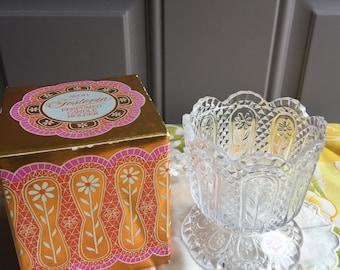 SALE!NIB Vintage Avon Fostoria Crystal Perfumed Candle Holder