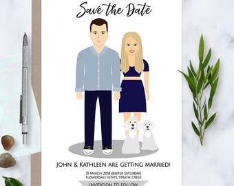 Save the Date, Custom Illustration, Original Save the Date, Wedding invitation, Unique Wedding Stationery,Couple portrait, drawing, Digital