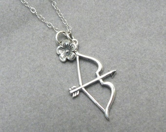 Bow Arrow Necklace Katniss Hunger Games Inspired Sterling Silver Charm Jewelry Mockingjay Archery Archer Catching Fire Charms Cluster