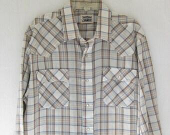 Vintage 80's LEVIS Plaid Western Shirt.