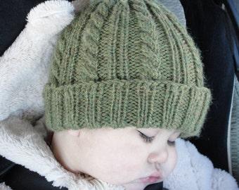 "Instant Download PDF Knitting PATTERN - Knit hat, beanie, toque, Cabled, Classic ""Brennan Hat"", baby, girl, boy, children, men, women,"