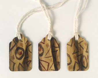 """3 Small Gift Tags  - 1.5"""" x 15/16"""" All Recycled Materials Bronze Geometric Olive Green Brown"""