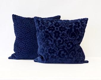 Blue Pillow Cover, Velvet Cushion Cover, Accent Pillow, Couch Pillow, Designer Pillow, Pillow Cover 20x20 Handmade by EllaOsix
