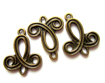 12 Jewelry connectors Antique bronze  jewelry findings earring components jewelry links 22mm x 19mm MLF9355 (SR8-4)