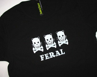 T.N.R. Feral Kitty Crossbones trio  Black, Blue, Purple, Gray, Green  fitted tshirt womens cat lovers tshirt spay neuter kitty