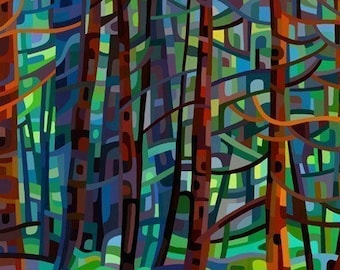 Fine Art Poster Print of an Original Abstract Acrylic Painting - In a Pine Forest