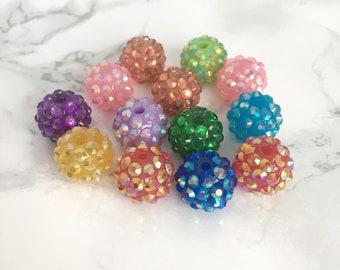 20mm Rhinestone beads - Chunky gum ball beads - Acrylic rhinestone beads - kids crafts and jewelry making - sparkly ball beads