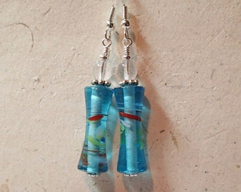 Turquoise with Swirls Spindle Shaped Glass Earrings  with Clear Accent Silver