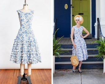 FUN & FLIRTY Vintage 1950s Blue Floral Cotton Summer Day Dress with 10 Layer Ruffle Skirt // Cha Cha // Pin Up // Mid Century