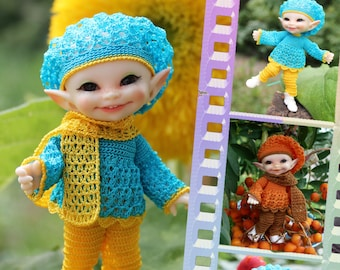 PDF Doll Pattern Crochet outfit Cornflover for BJD RealPuki (Real Puki) dolls By Kasatka dolls fashion