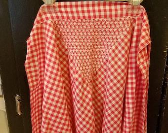 Vintage Red Gingham Apron