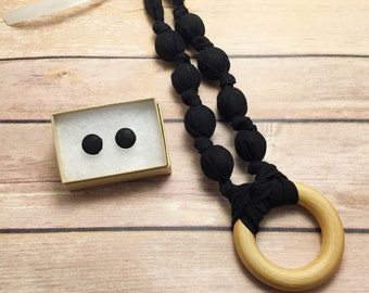 Black Fabric Teething Ring Necklace by Wee Kings