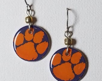 Clemson Tigers earrings, Clemson Tigers jewelry, Clemson Tigers, school spirit jewelry