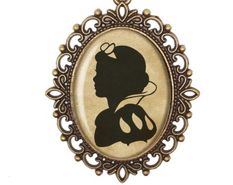 Snow White Silhouette Brother Grimm Vintage Inspired Cameo Handmade Necklace