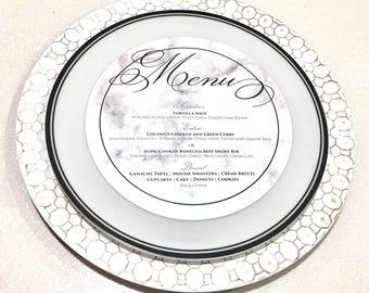 Marble Menu, Circle Menu, Any Size ROUND MENU, Charger Inserts, Reception Menu Cards • Printed on Metallic or Matte Cardstock