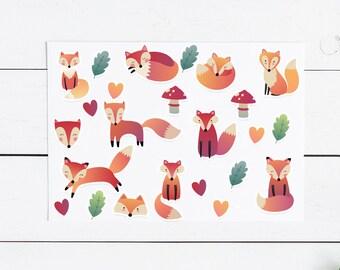 Large Fox Sticker Pack- 26 Stickers, Planner Stickers, Planner, Journal, Snailmail