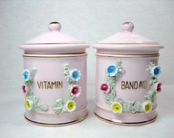 Vintage Kelvin Pink China - Pink Porcelain China Bathroom Dispensers - Kelvin Fine China (Set of 2)