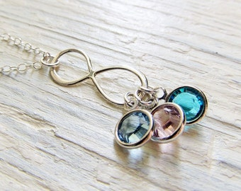 Sterling Silver Infinity Necklace with Birthstones, Necklace for Mom, Family Birthstone Jewelry, Gift for Mom, Mothers Jewelry, Eternity