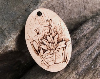 Water Lily & Dragon Fly Wooden Pendant