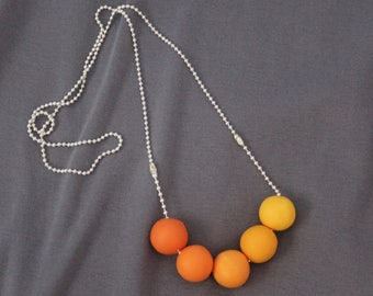 Polymer Clay necklace in a variation of yellows or Ombre.