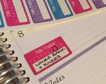 21 Pain tracker stickers varient 1  - great for migraine fibromyalgia etc for vertical planners , happy planner recollections bujo spoonie