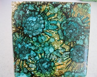 Original Alcohol Ink Ceramic Tile Painting - Teal Flowers