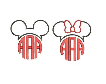 25 Sizes Mickey and Minnie Head Ears Mouse Monogram Frame Toppers Girl Bow Applique Design Embroidery Machine Instant Download EN2193E1E2