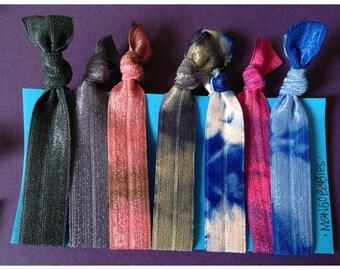 tie dye fold over elastic hair tie,  mangoband, won't tear, tug, or kink your hair- READY TO SHIP