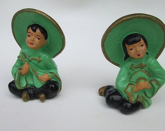 Vintage Pair of Asian Couple Chalkware