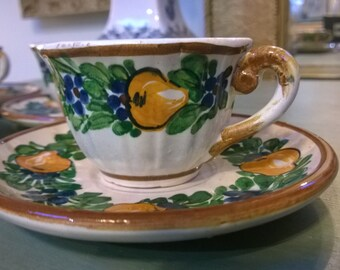 vintage demi tasse cups and saucers  made in Italy
