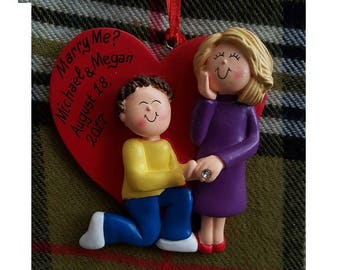 Personalized Christmas Ornament Will You Marry Me - Engagement Ornament-She Said Yes-Christmas Proposal - Customize Hair Colors & Skin Tones