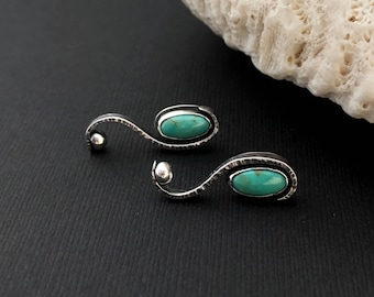 Forged Turquoise Earrings, Hand Wrought Silversmith Scroll Long Stud Earrings, Kingman Turquoise, Unique Hammered Sterling Silver Dangles