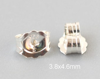 Sterling Silver Earring Back  3.8x4.6mm /10~50 prs 925 silver ear Nuts - USA made wholesale Jewelry Supply(3839)