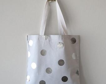 Silver Polka Dots White Canvas Tote Bag
