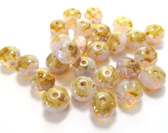 Pink Opal Faceted Rondelle Czech Glass Beads with Picasso Finish, 8mm x 6mm - 12 pieces