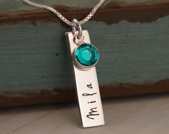 Personalized Jewelry -  Hand Stamped Mommy Necklace - Vertical Tag Necklace with Birthstone - Just One Name