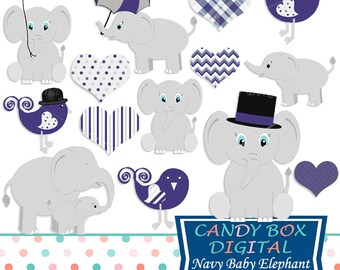 Navy Baby Elephant Clipart, Baby Boy Clip Art - Commercial Use OK
