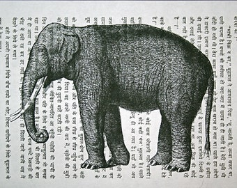 Asian Elephant Print on Vintage Hindi Book Page - 5 x 7 Book Page Print of India Elephant Art