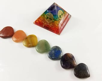Rainbow Chakra Heart and Flower of Life Orgone Pyramid Stone Set Each Color of the Chakra Spectrum