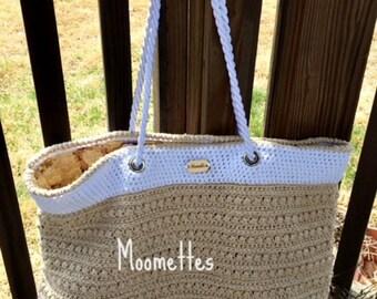 Handmade Malia Tote Bag Lined Crochet Shoulder Bag Purse Beige White Cotton Sack Large Beach Bag