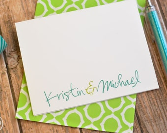 Wedding Thank You Cards / Personalized Note Cards / Bridal Shower Thank You Notes / Couples /  Couples Names Stationery / Couples Note