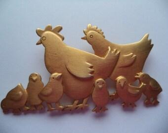 Vintage Signed JJ Gold pewter Hens and Chicks Brooch/Pin